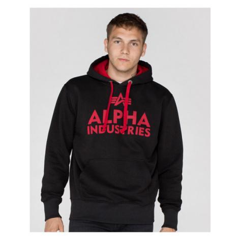 Pánska mikina Alpha Industries Foam Print Hoody Black Red - Veľkosť:XL