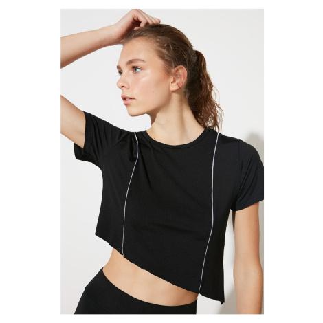 Trendyol Black Biye Detailed Crop Sports T-Shirt