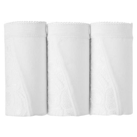 Blancheporte Nohavičky super maxi z čipky, súprava 3 ks biela