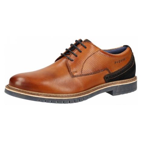bugatti Šnurovacie topánky  hnedá / námornícka modrá