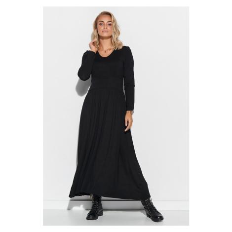 Čierne maxi šaty s dlhým rukávom M571 Makadamia
