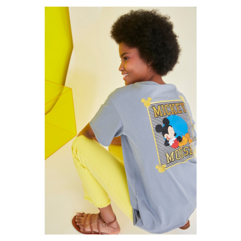Trendyol Gray Mickey Mouse Licensed Printed Boyfriend Knitted T-Shirt