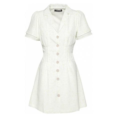 Fashion Union Košeľové šaty 'CAMERON'  karí / biela