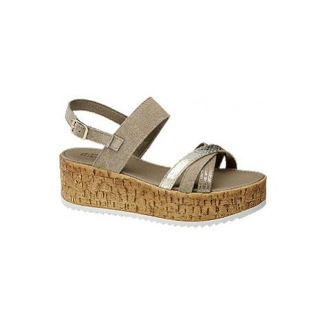Sivobéžové kožené sandále na platforme 5th Avenue