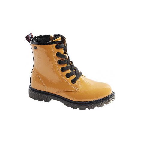 Žltá lakovaná šnurovacia obuv so zipsom Tom Tailor s TEX membránou