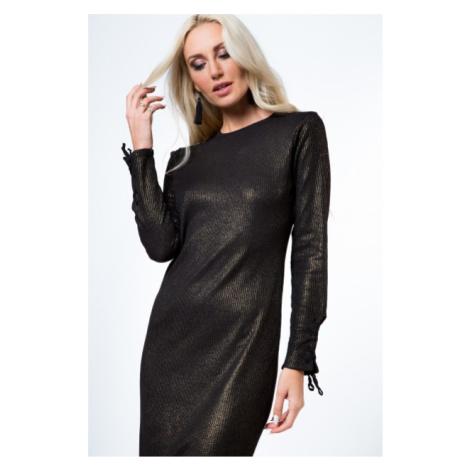 Midi šaty s púzdrovým strihom a ozdobným viazaním, čierna/zlatá FASARDI