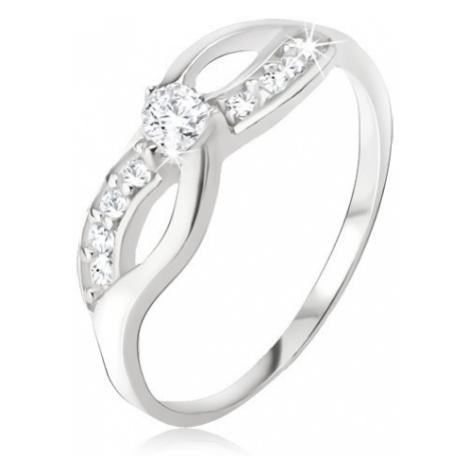 Strieborný prsteň 925 - symbol nekonečna, zirkónová línia, okrúhly kamienok - Veľkosť: 59 mm