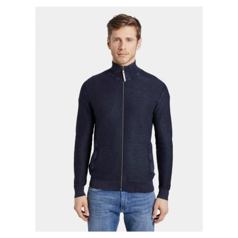 Tmavomodrý pánsky sveter na zips Tom Tailor