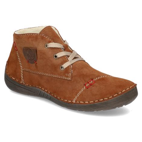 Rieker kombinácia s kožou snurovacia obuv hnedá