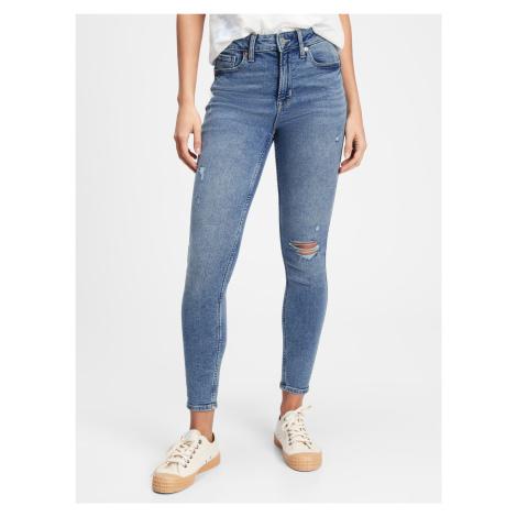 GAP modré džínsy High rise distressed legging