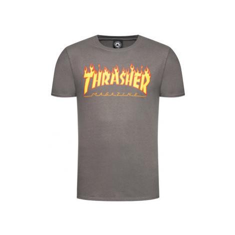Thrasher Tričko Flame Sivá Regular Fit