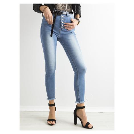 Modré slim fit džínsy s gombíkmi