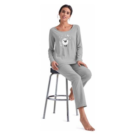 Blancheporte Pyžamo s potlačou ovečky, dlhé rukávy sivý melír