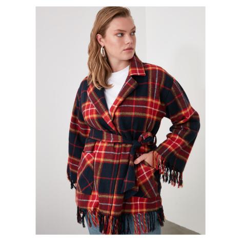 Červený kockovaný ľahký kabát Trendyol