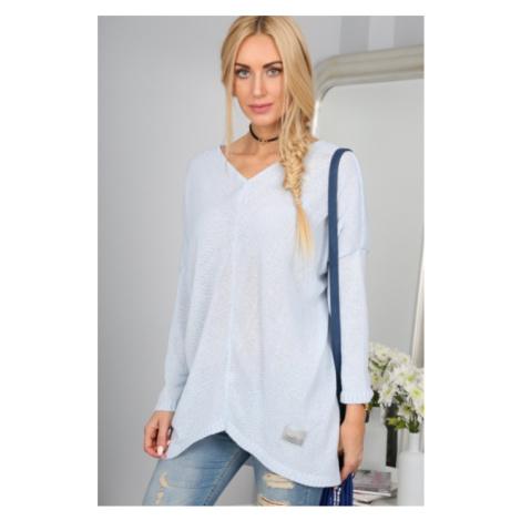 Asymetrický svetlomodrý sveter s dlhými rukávmi FASARDI