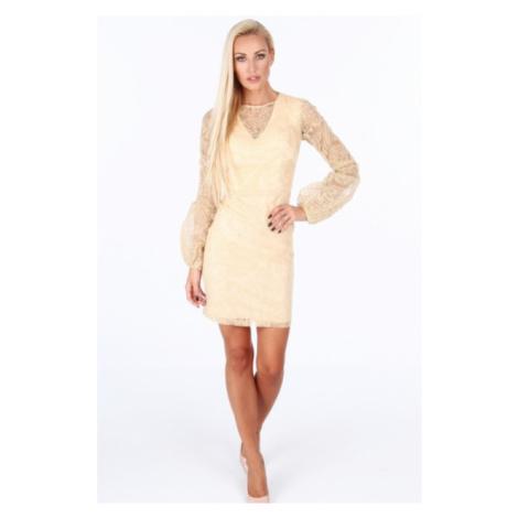 Zlaté dámske šaty s dlhými nafúknutými rukávmi FASARDI