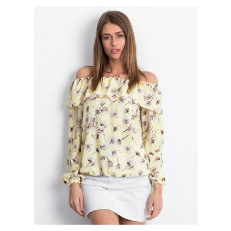 Yellow blouse with a carmen floral print neckline