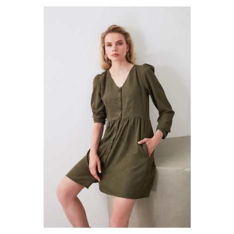 Trendyol Khai Button Detailed Velvet Dress