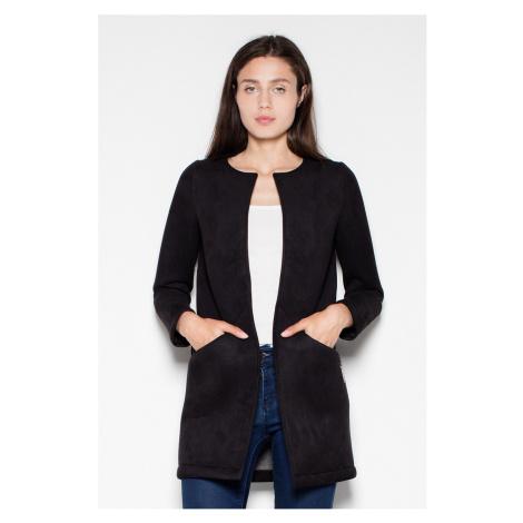 Čierny predĺžený kabátik VT040 Venaton