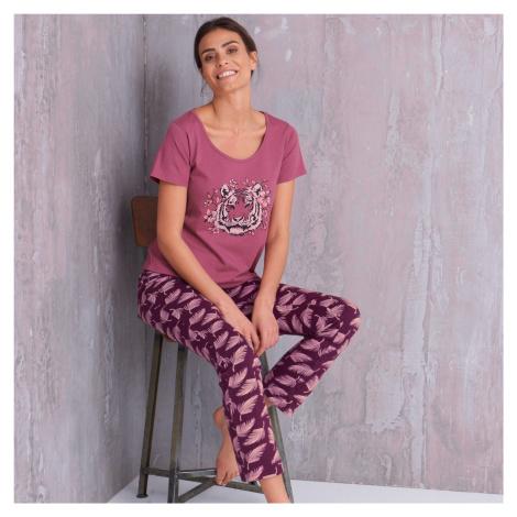 Blancheporte Pyžamo s motívom tigra, krátke rukávy slivková
