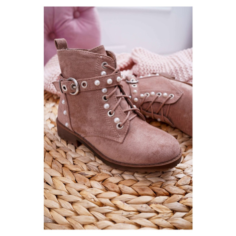 Youth Ankle Boots Pearls Khaki Nargos