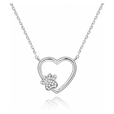 Beneto Strieborný náhrdelník Láska k maznáčikovi AGS702 / (retiazka, prívesok)