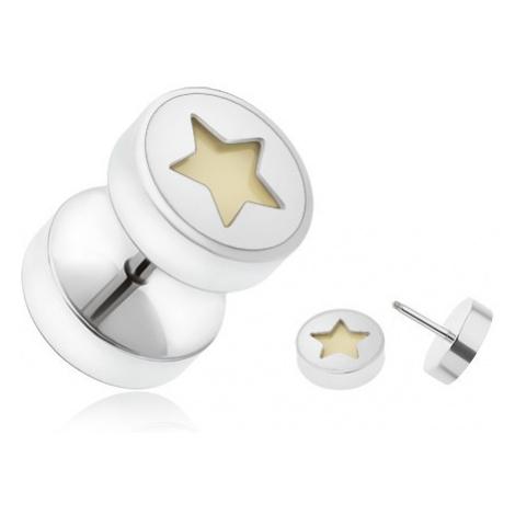 Falošný piercing do ucha z ocele, päťcípa hviezda žiariaca v tme
