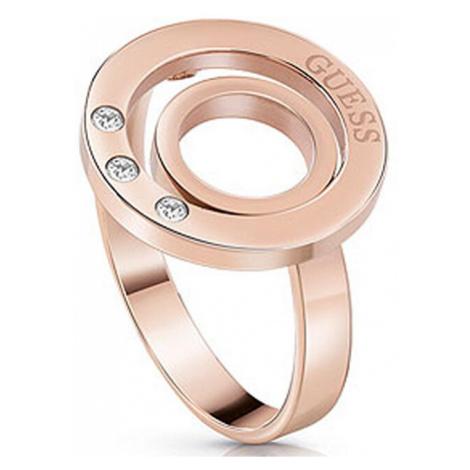 Guess Ružovo pozlátený prsteň s kryštálmi UBR29008 mm