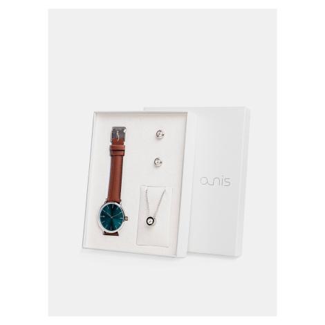 Sada dámskych náušnic, retiazky a hodiniek s hnedým koženým remienkom a-nis