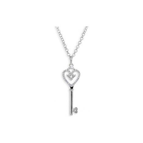 Modesi Strieborný náhrdelník Kľúčik sa zirkónmi M41044 (retiazka, prívesok)