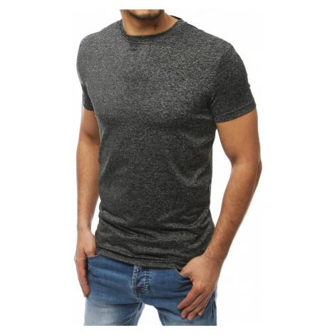 Pánske jednoduché čiernosivé tričko RX4017