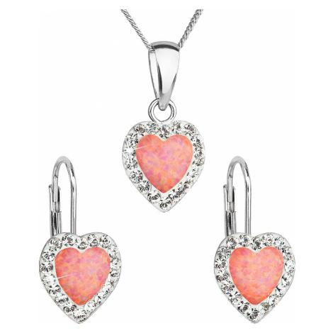 Sada šperkov so syntetickým opálom a krištálmi Swarovski náušnice a prívesok oranžové srdce 3916