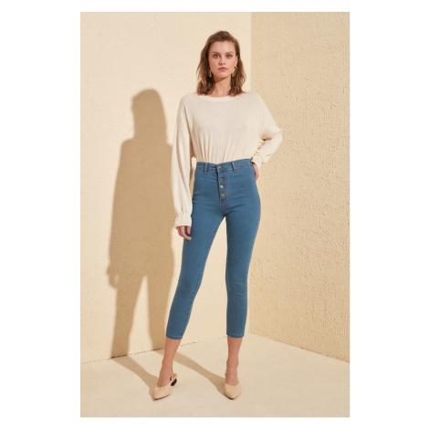 Trendyol Navy Front Button High Waist Jegging Jeans Navy
