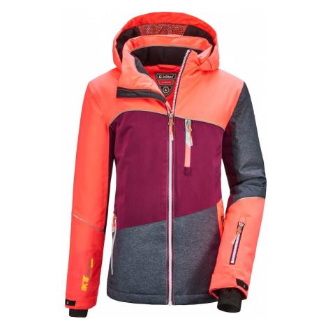 KILLTEC Športová bunda 'Glenshee'  tmavosivá / červeno-fialová / koralová