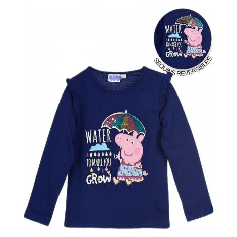 Prasiatko peppa dievčenské modré tričko s potlačou Peppa Pig
