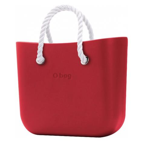O bag kabelka MINI Rosso s bielymi krátkymi povrazmi