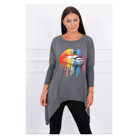Blouse oversize with rainbow lips print graphite