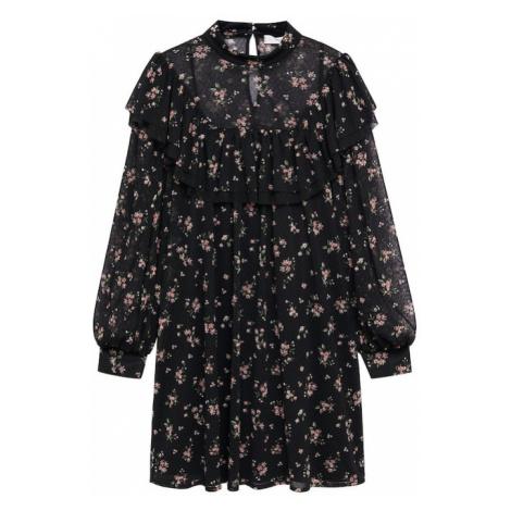 MANGO Šaty 'Nori'  čierna / svetloružová / svetlozelená