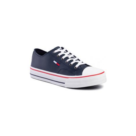 Tommy Jeans Plátenky Leather City Sneaker EM0EM00394 Tmavomodrá Tommy Hilfiger