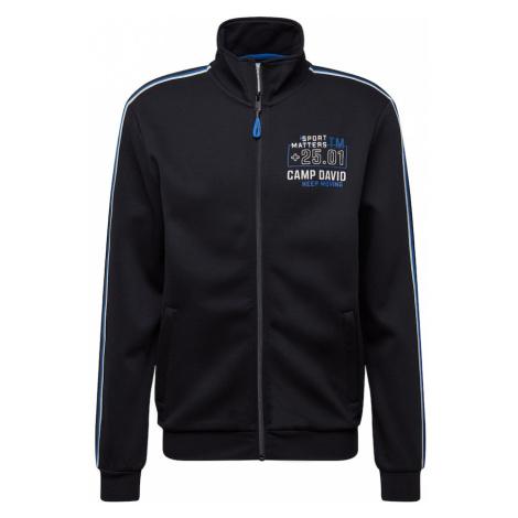 CAMP DAVID Tepláková bunda  čierna / biela / kráľovská modrá