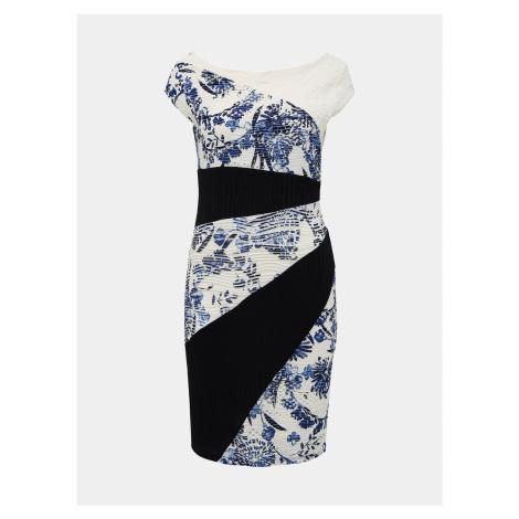 Biele vzorované púzdrové šaty Desigual Detroit