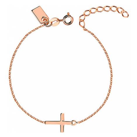 OLIVIE Strieborný ružový náramok s krížom 3057