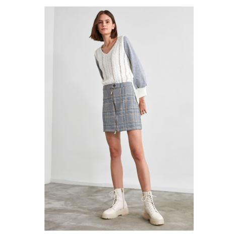 Trendyol Grey Zipper Plaid Skirt