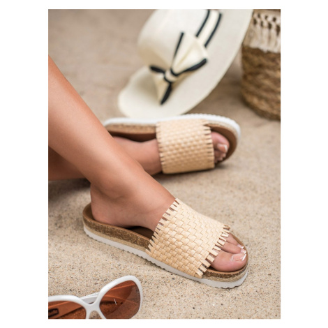 FLIP-FLOPS WITH FRINGE VICES shades of brown and beige