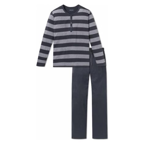 SCHIESSER Dlhé pyžamo  sivá / svetlosivá