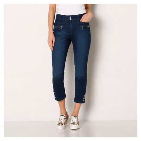 Blancheporte Džínsové 3/4 nohavice s gombíkmi na koncoch nohavíc denim