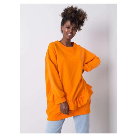 Dámska oranžová bavlnená mikina s volánmi