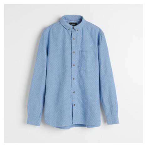 Reserved - Bodkovaná košeľa z organickej bavlny - Modrá