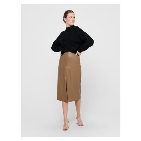 Hnedá koženková sukne ONLY Ruma