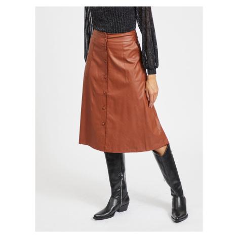 Hnedá koženková midi sukňa VILA